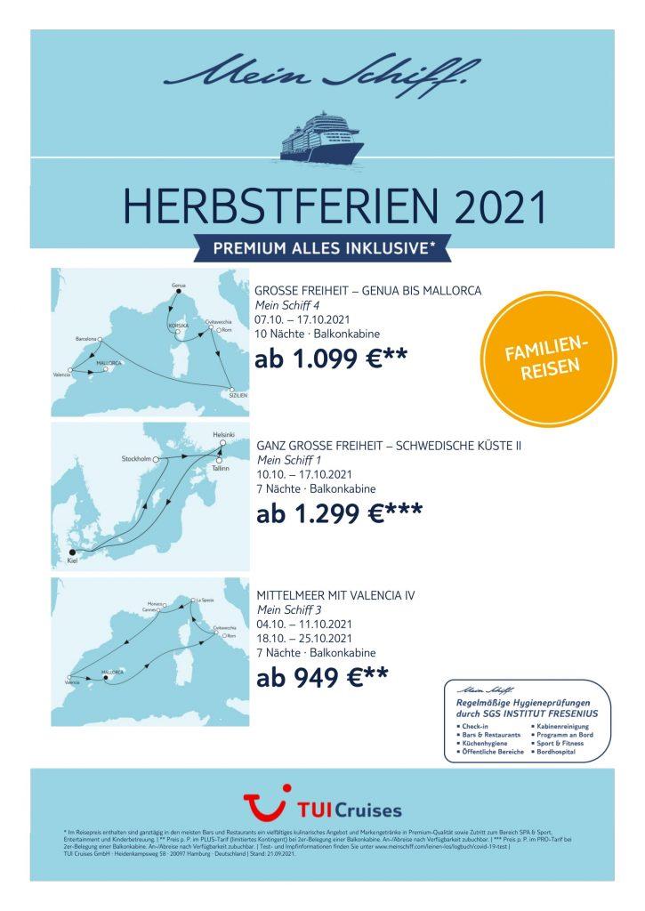 TUICruises Herbstferien 2021